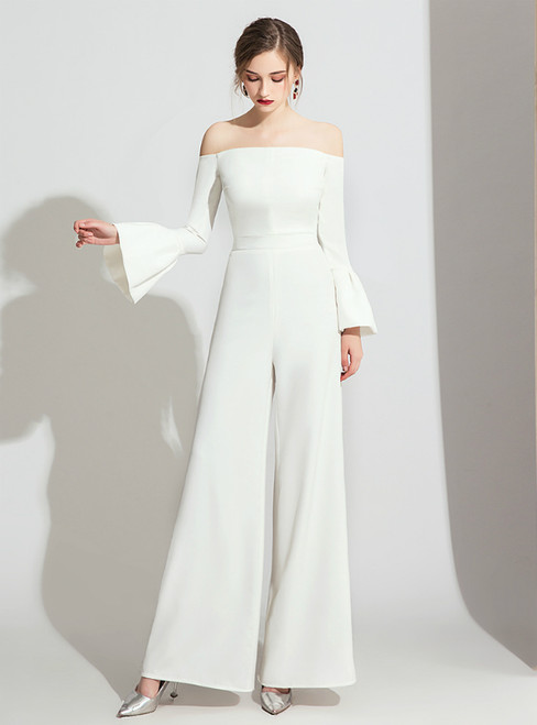White Off the Shoulder Long Sleeve Party Jumpsuits 2020