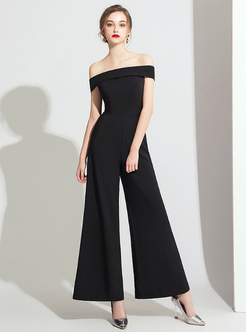 Black Polyester Off the Shoulder Party Jumpsuits 2020