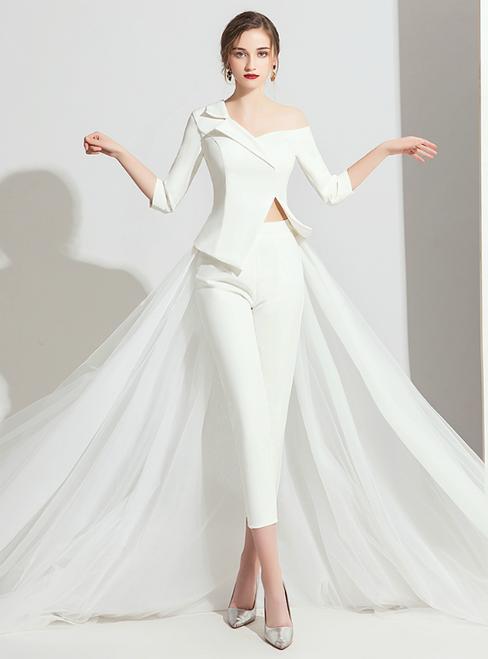 White Satin Tulle 3/4 Sleeve Trouser Skirt Party Dress 2020