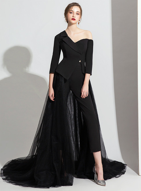 Black Satin Tulle 3/4 Sleeve Trouser Skirt Party Dress 2020
