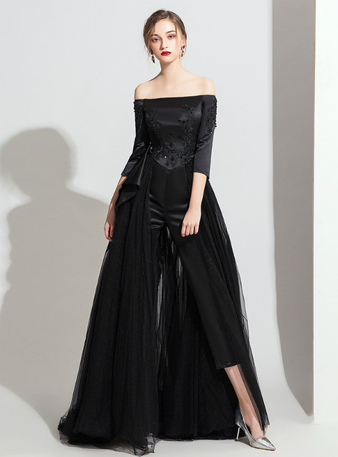 Black Tulle Satin Off the Shoulder Half Sleeve Trouser Skirt Party Dress