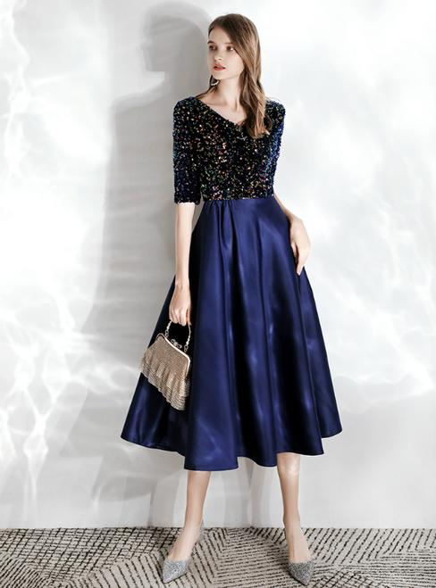 In Stock:Ship in 48 hours Blue Satin V-neck Short Sleeve Sequins Prom Dress