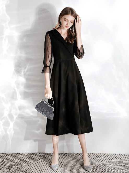 In Stock:Ship in 48 hours Black Satin V-neck 3/4 Sleeve Prom Dress