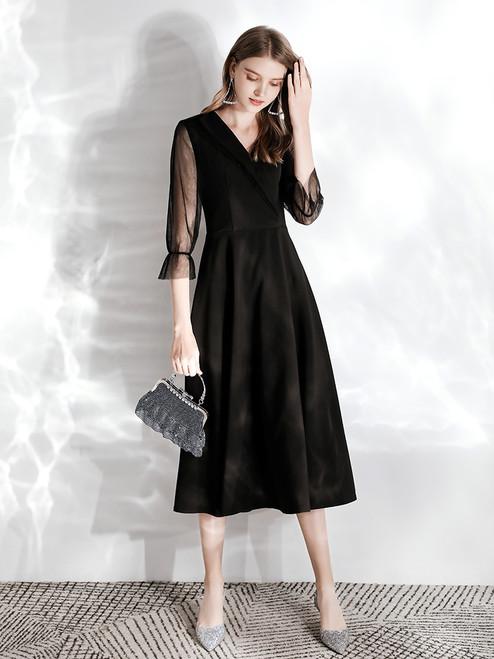 In Stock:Ship in 48 hours Black Satin V-neck 3/4 Sleeve Prom Dress