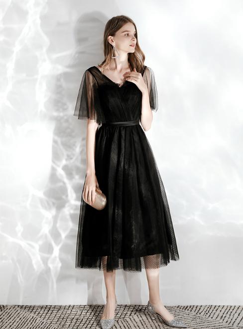 In Stock:Ship in 48 hours Black Tulle V-neck Short Prom Dress 2020