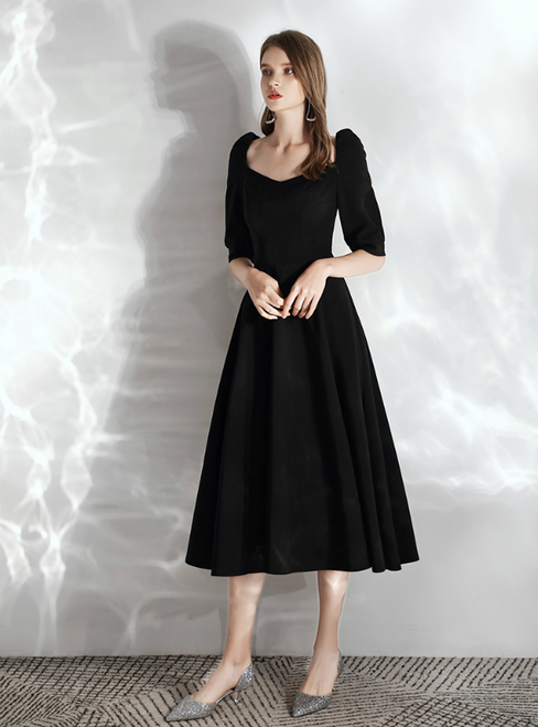In Stock:Ship in 48 hours Black Satin Saquare Half Sleeve Prom Dress 2020