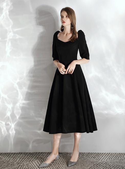 In Stock:Ship in 48 hours Black Satin Saquare Half Sleeve Prom Dress 2020