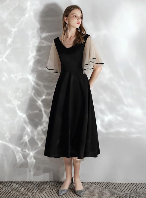 In Stock:Ship in 48 hours Black Satin V-neck Short Sleeve Prom Dress
