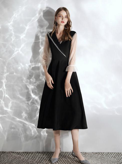 In Stock:Ship in 48 hours Black Satin V-neck Half Sleeve Prom Dress