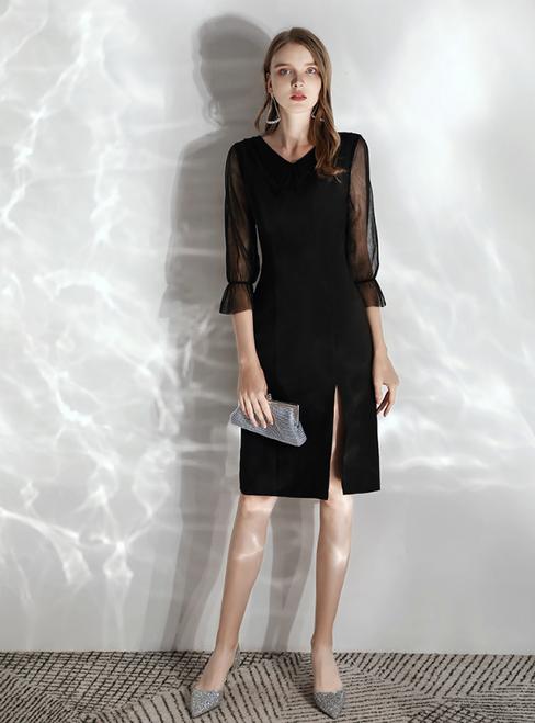 In Stock:Ship in 48 hours Black Satin Sheath V-neck 3/4 Sleeve Prom Dress