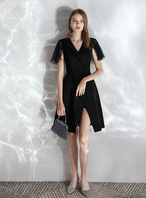 In Stock:Ship in 48 hours Black Satin Sheath V-neck Short Sleeve Prom Dress