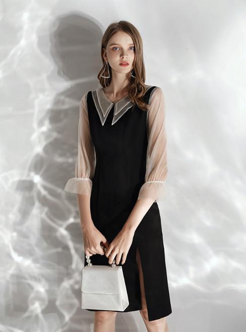 In Stock:Ship in 48 hours Black Satin 3/4 Sleeve Prom Dress 2020