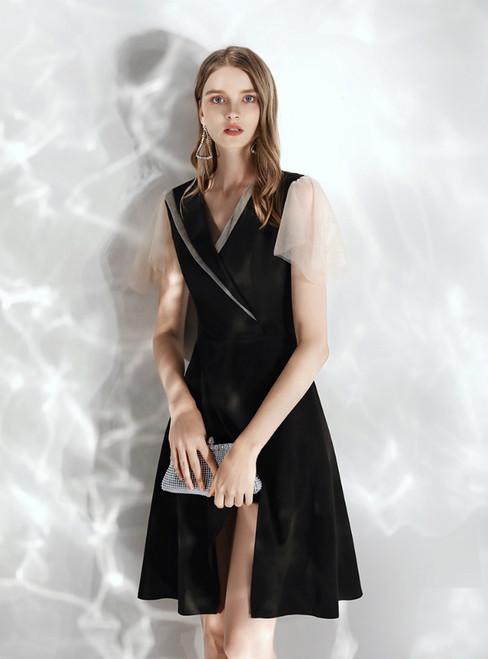 In Stock:Ship in 48 hours Black Satin Short Sleeve Prom Dress