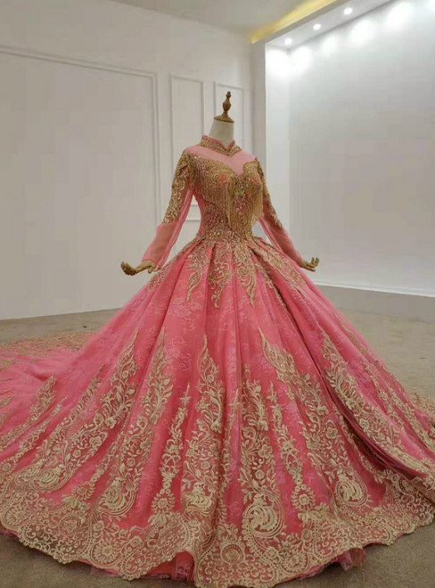 Watermelon Red Tulle High Neck Long Sleeve Lace Appliques Wedding Dress 2020