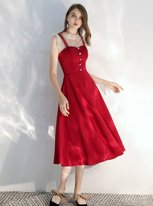 In Stock:Ship in 48 hours Burgundy Satin Tea Length Prom Dress 2020