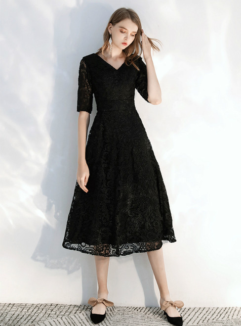 In Stock:Ship in 48 hours Black Lace V-neck Short Sleeve Prom Dress