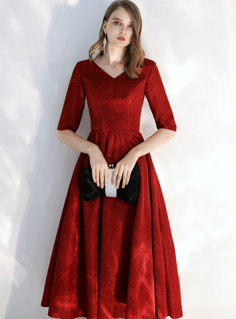 In Stock:Ship in 48 hours Burgundy V-neck Short Sleeve Tea Length Prom Dress 2020