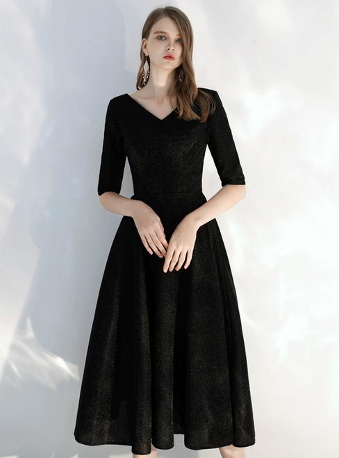 In Stock:Ship in 48 hours Black V-neck Short Sleeve Tea Length Prom Dress 2020