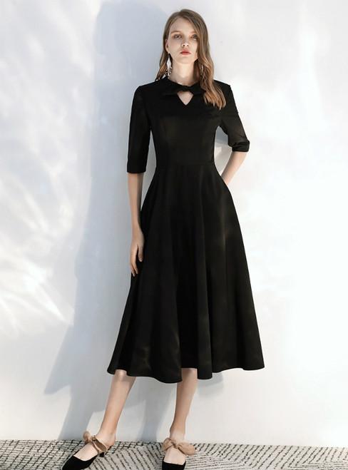 In Stock:Ship in 48 hours Black Satin Half Sleeve Prom Dress