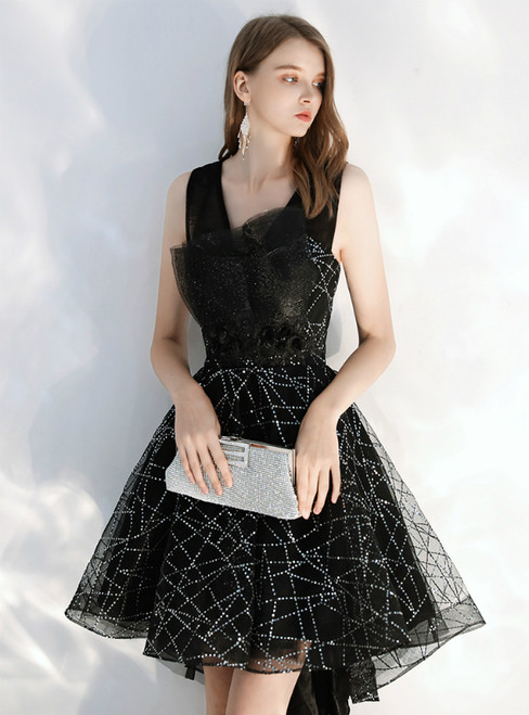 In Stock:Ship in 48 hours Black Tulle Sequins Hi Lo Homecoming Dress 2020
