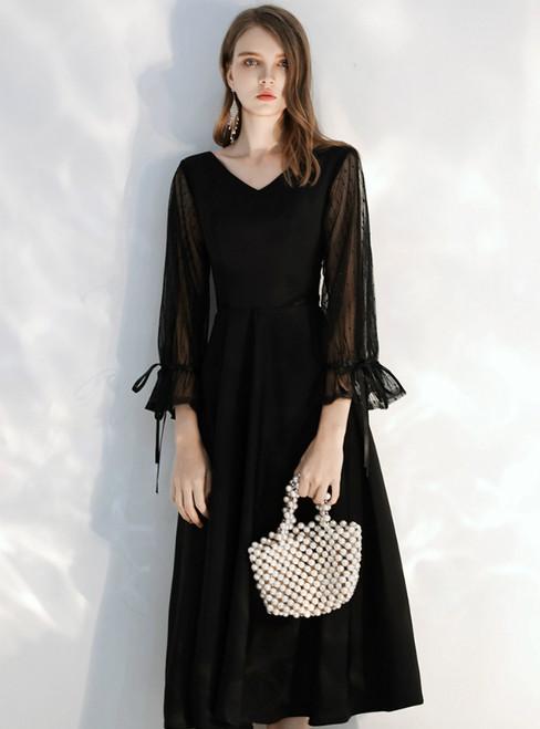In Stock:Ship in 48 hours Black V-neck Long Sleeve Prom Dress 2020
