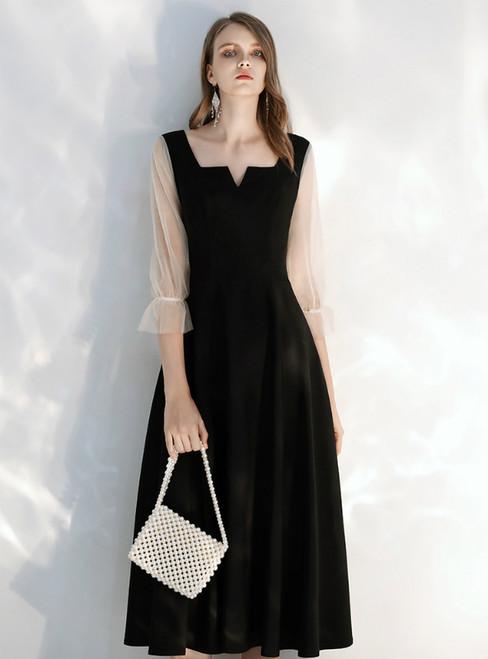 In Stock:Ship in 48 hours Black Satin Square 3/4 Sleeve Prom Dress 2020