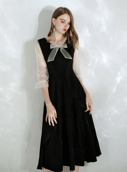 In Stock:Ship in 48 hours Black V-neck 3/4 Sleeve Prom Dress 2020