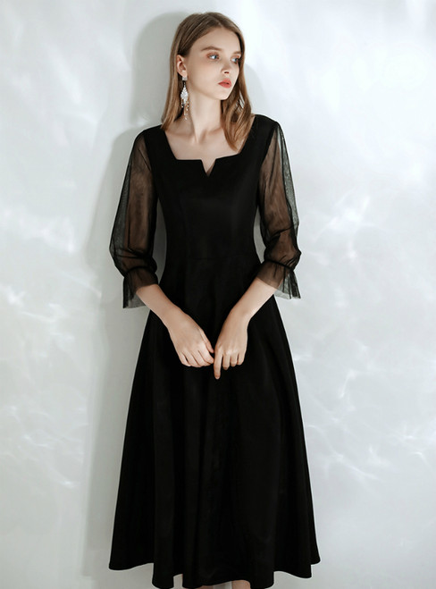 In Stock:Ship in 48 hours Black Square 3/4 Sleeve Prom Dress 2020