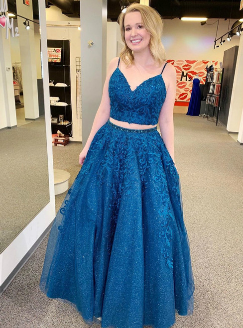 A-Line Sequins Blue Two Piece Spaghetti Straps Appliques Prom Dress