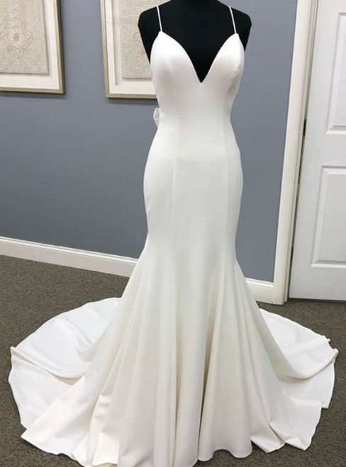 White Mermaid Satin V-neck Backless Wedding Dress With Button 2020