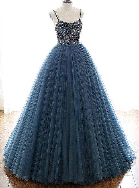 Fashion Blue Ball Gown Tulle Spaghetti Straps Beading Prom Dress 2020