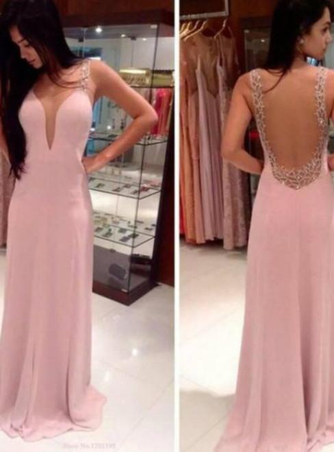 Custom Made Pink A Line V Neck Floor Length Chiffon Prom Dresses Evening Dresses