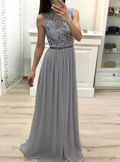 A-Line Gray Chiffon Lace Sleeveless Long Prom Dress