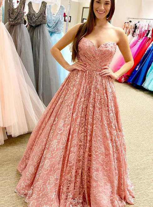 A-Line Pink Sweetheart Beading Long Prom Dress 2020