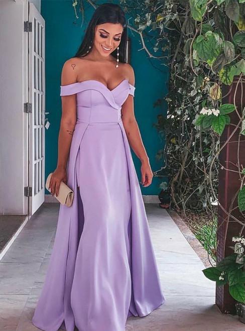 Simple Lavender Satin Off the Shoulder Long Prom Dress