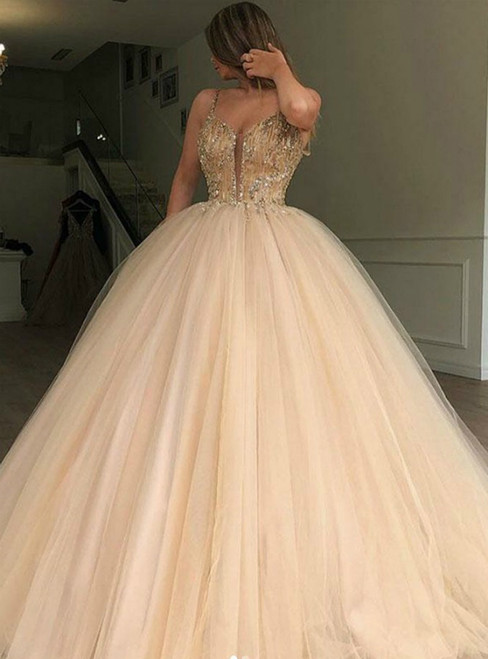 Champagne Ball Gown Tulle Spaghetti Straps Beading Prom Dress