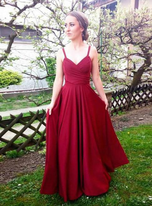 A-Line Burgundy Chiffon V-neck Pleats Prom Dress 2020