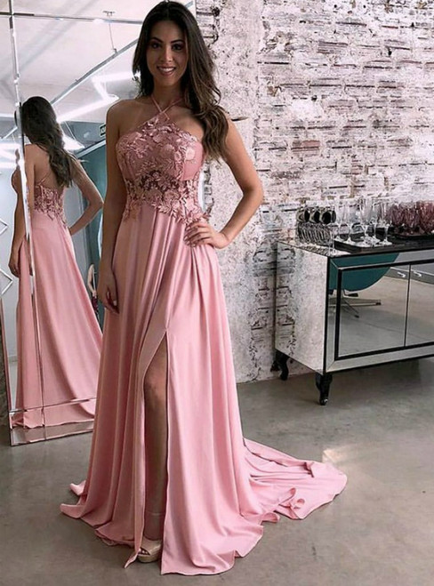 A-Line Pink Chiffon Halter Appliques Prom Dress With Side Split