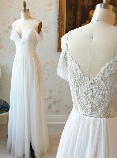 A-line White Chiffon Lace Spaghetti Straps Prom Dress