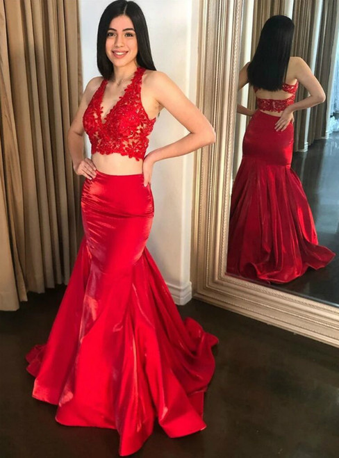 Red Mermaid Two Piece Satin Lace V-neck Prom Dress