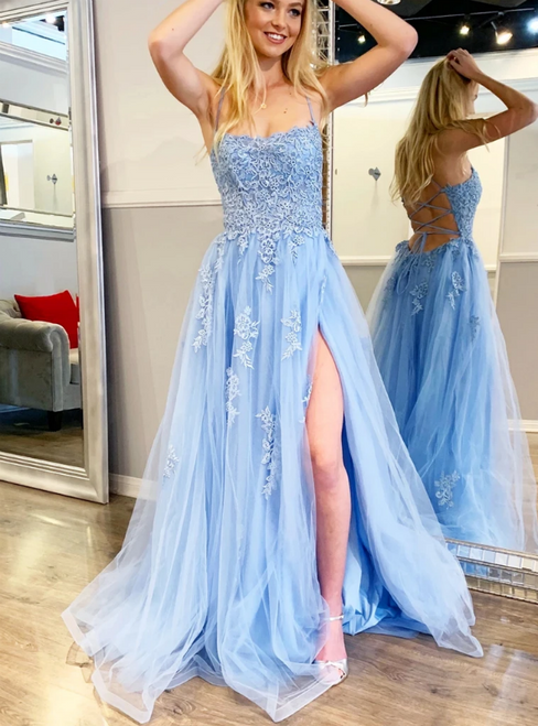 A-Line Blue Tulle Appliques Spagehtti Straps Prom Dress