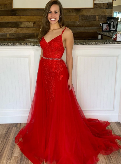 A-line Red Tulle Appliques Spaghetti Straps Prom Dress
