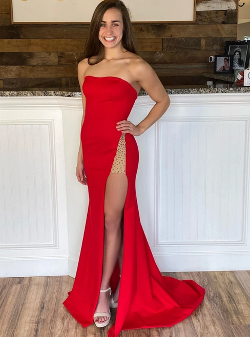 Red Mermaid Strapless Satin Beading Prom Dress With Side Split