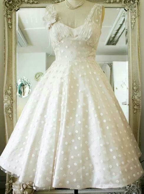 Vintage Polka Dots Tea Length V-neck Backless Wedding Dress