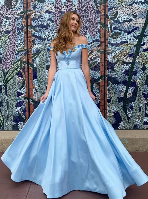 Blue Satin Off the Shoulder 3D Appliques Beading Prom Dress 2020