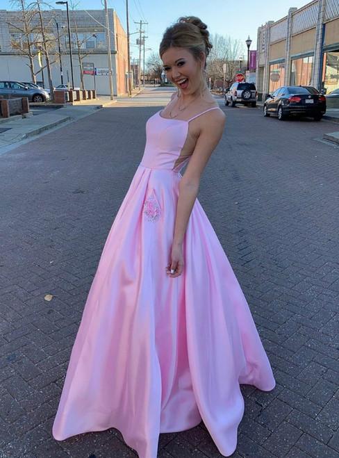 A-Line Pink Satin Spaghetti Straps Prom Dress With Pocket