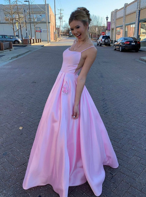 A-Line Pink Satin Spaghetti Straps Prom Dress With Pocket