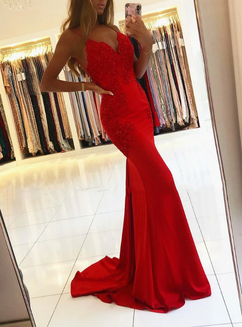 Red Mermaid V-neck Backless Appliques Beading Prom Dress 2020