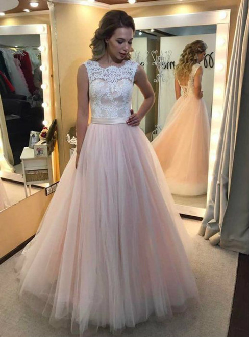 Pink Tulle White Lace Appliques Backless Wedding Dress
