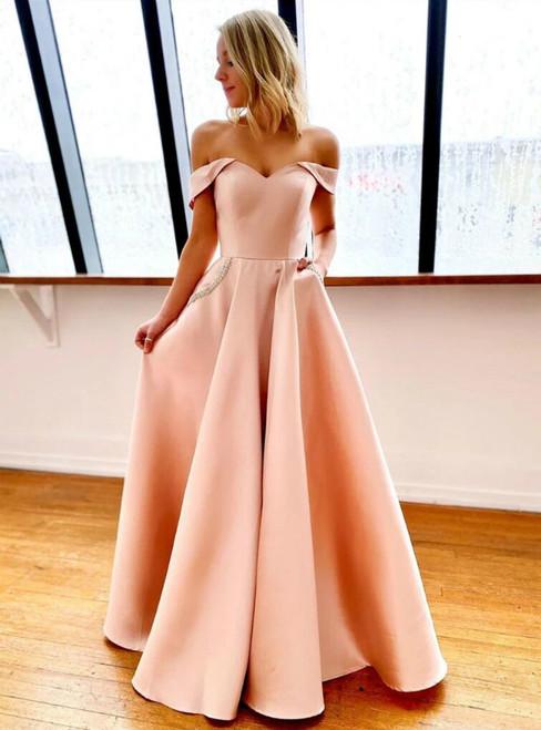 A-Line Pink Satin Off the Shoulder Prom Dress With Pocket